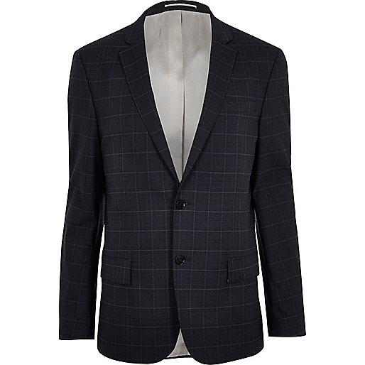Blaue, schmale Anzugsjacke
