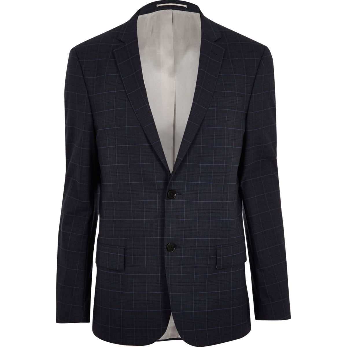 Blue window pane slim suit jacket