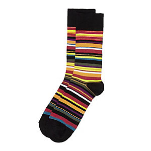 Rode meerkleurig gestreepte sokken