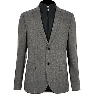 Grey insert slim fit blazer