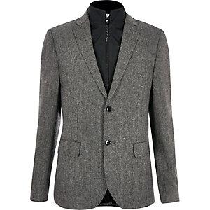 Grijze slim-fit blazer met inzetstuk