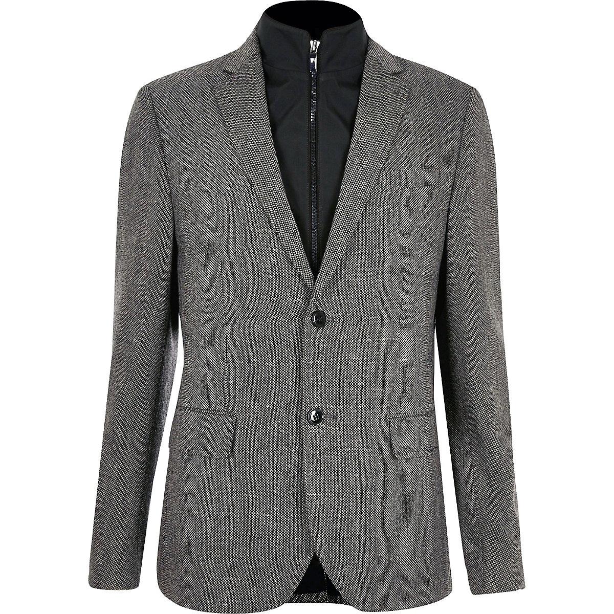Grey insert slim fit blazer
