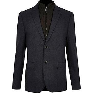 Marineblauwe slim-fit blazer met inzetstuk