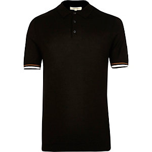 Black tipped knitted polo shirt
