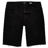 Short en jean noir effiloché skinny