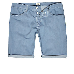 Light blue wash slim fit denim shorts