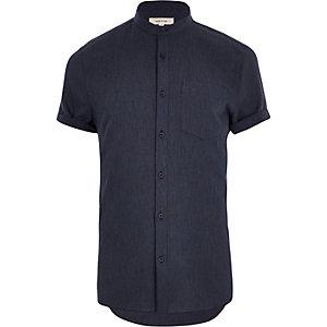 Navy short sleeve grandad shirt