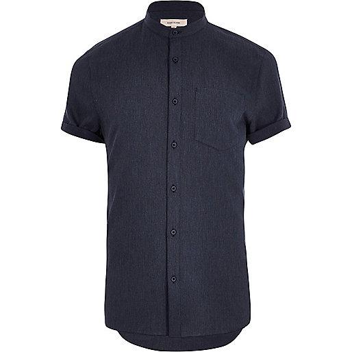 Marineblaues, kurzärmliges Grandad-Hemd