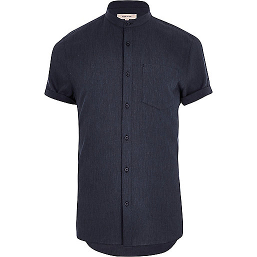Navy short sleeve grandad shirt
