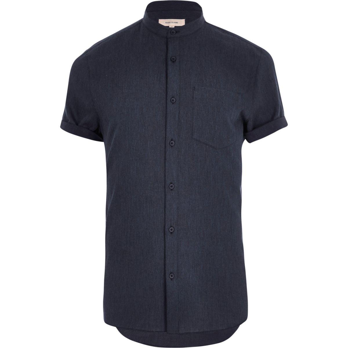 Chemise bleu marine à manches courtes style grand-père