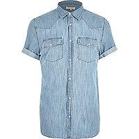 Chemise en jean bleue casual à manches courtes style western