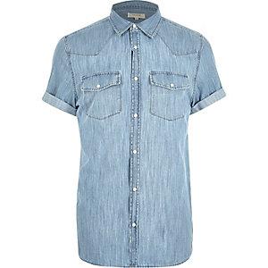 Blauw casual Western denim overhemd met korte mouwen