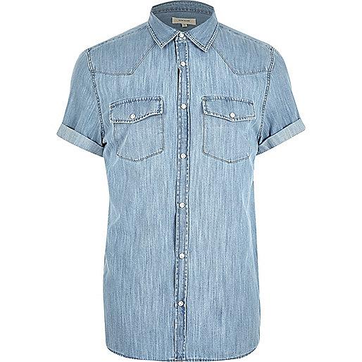 Blue casual western short sleeve denim shirt