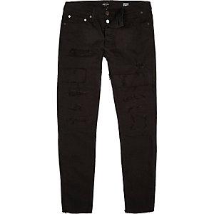 Zwarte Sid halflange skinny jeans
