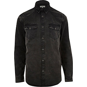 Black washed casual western denim shirt
