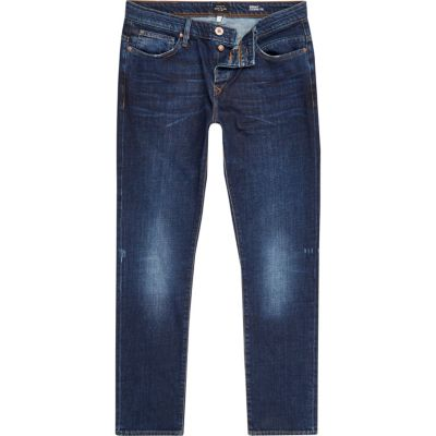 Ronnie dark blue wash skinny smaltoelopende jeans