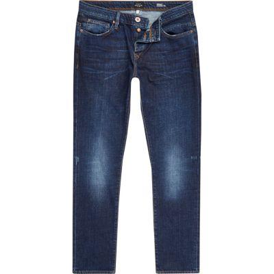 Ronnie dark blue wash skinny smaltoelopende jeans