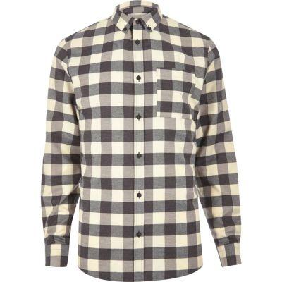 Ecru met zwart geruit overhemd
