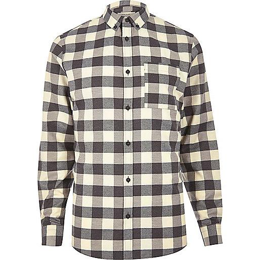 Ecru and black check shirt