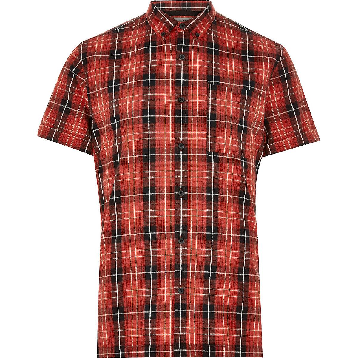 Red check Oxford short sleeve shirt
