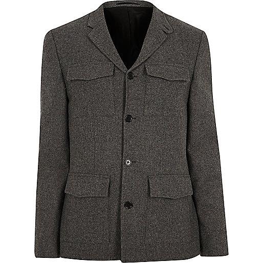 Grey slim fit patch pocket blazer