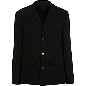 Zwarte slim-fit blazer met zakje
