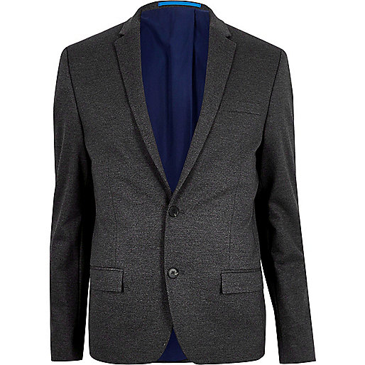 Grey flecked skinny suit jacket