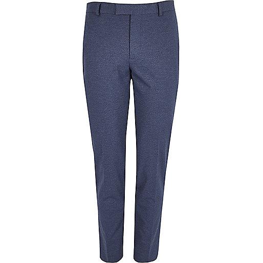 Pantalon de costume bleu moucheté coupe skinny