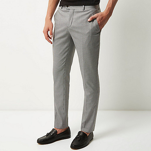 Grey dogstooth suit trousers