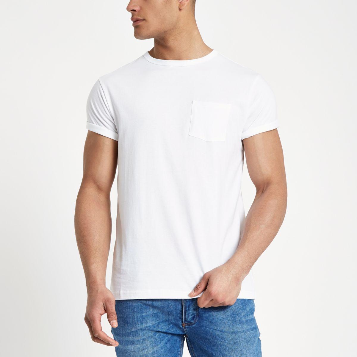 White crew neck chest pocket T-shirt