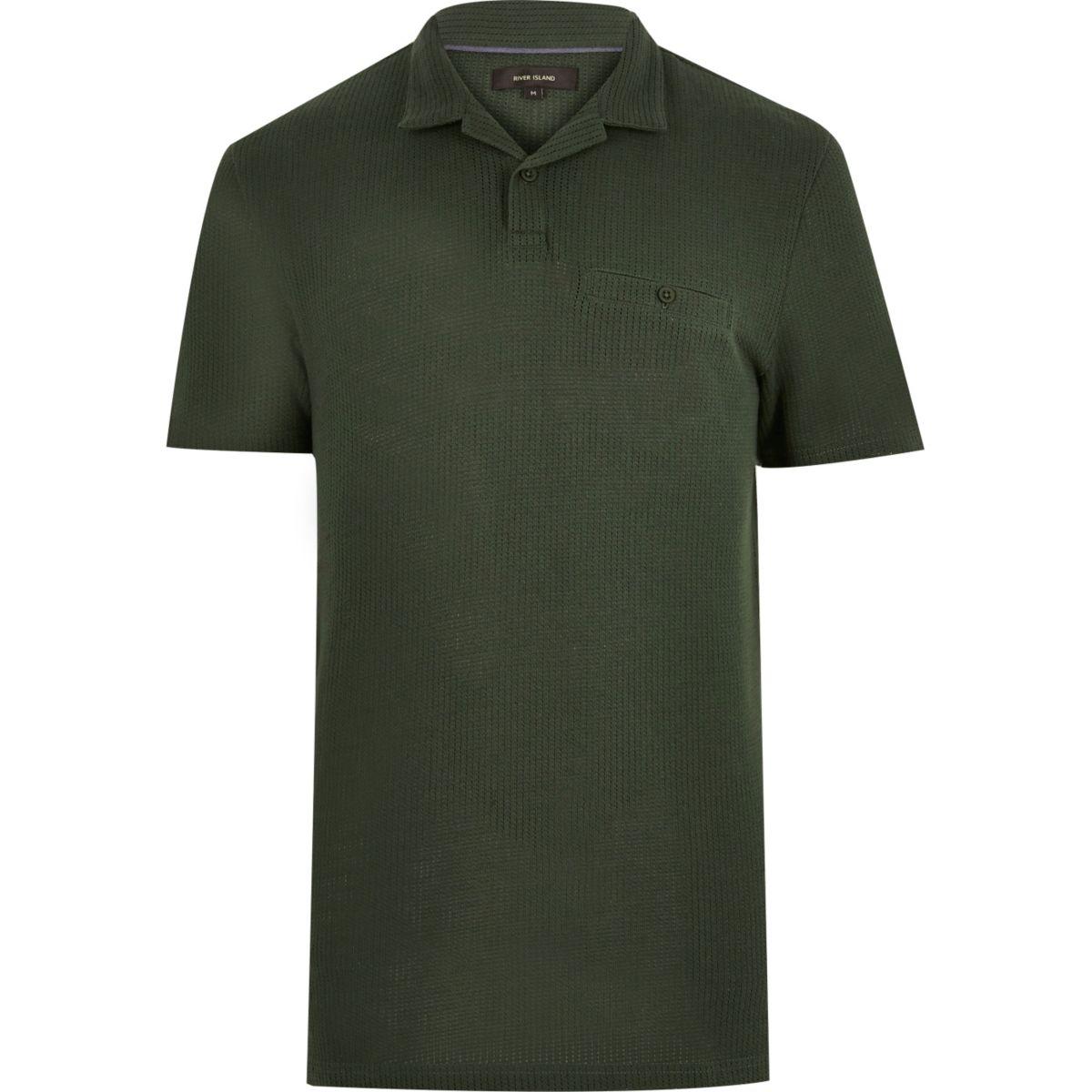 Khaki textured polo shirt
