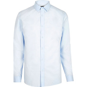 Lichtblauw net slim-fit overhemd