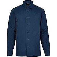 Navy formal slim fit poplin shirt