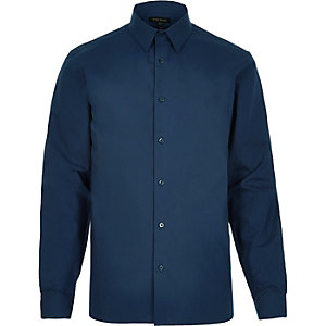 Chemise en popeline bleu marine habillée cintrée