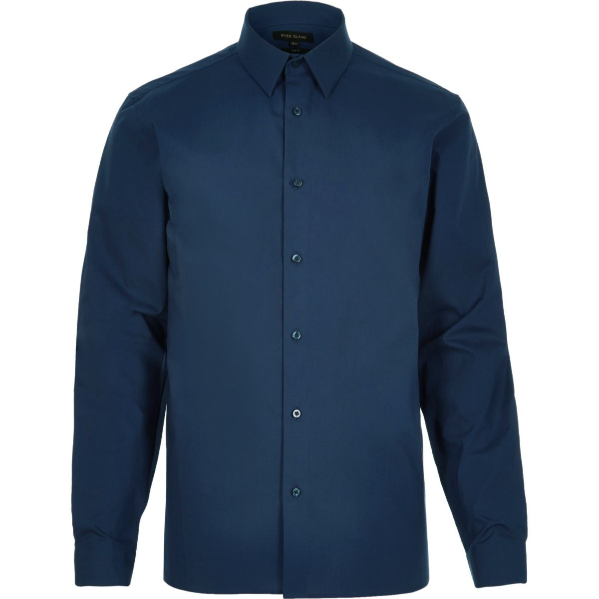 Navy formal slim fit poplin shirt shirts sale men for Mens slim fit formal shirts uk
