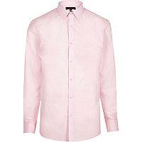 Chemise en popeline rose habillée cintrée
