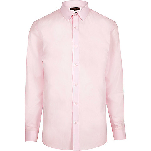 Pink formal poplin slim fit shirt