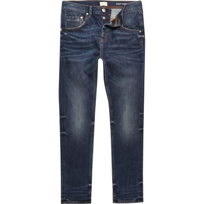 Chester vintage taps toelopende jeans met donkerblauwe wassing