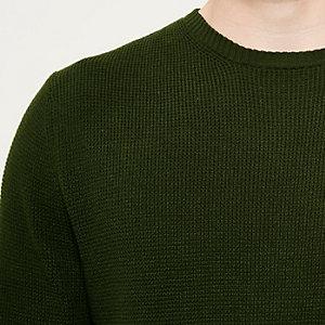 Dark green textured knit jumper