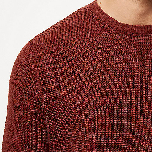 Dark orange textured jumper