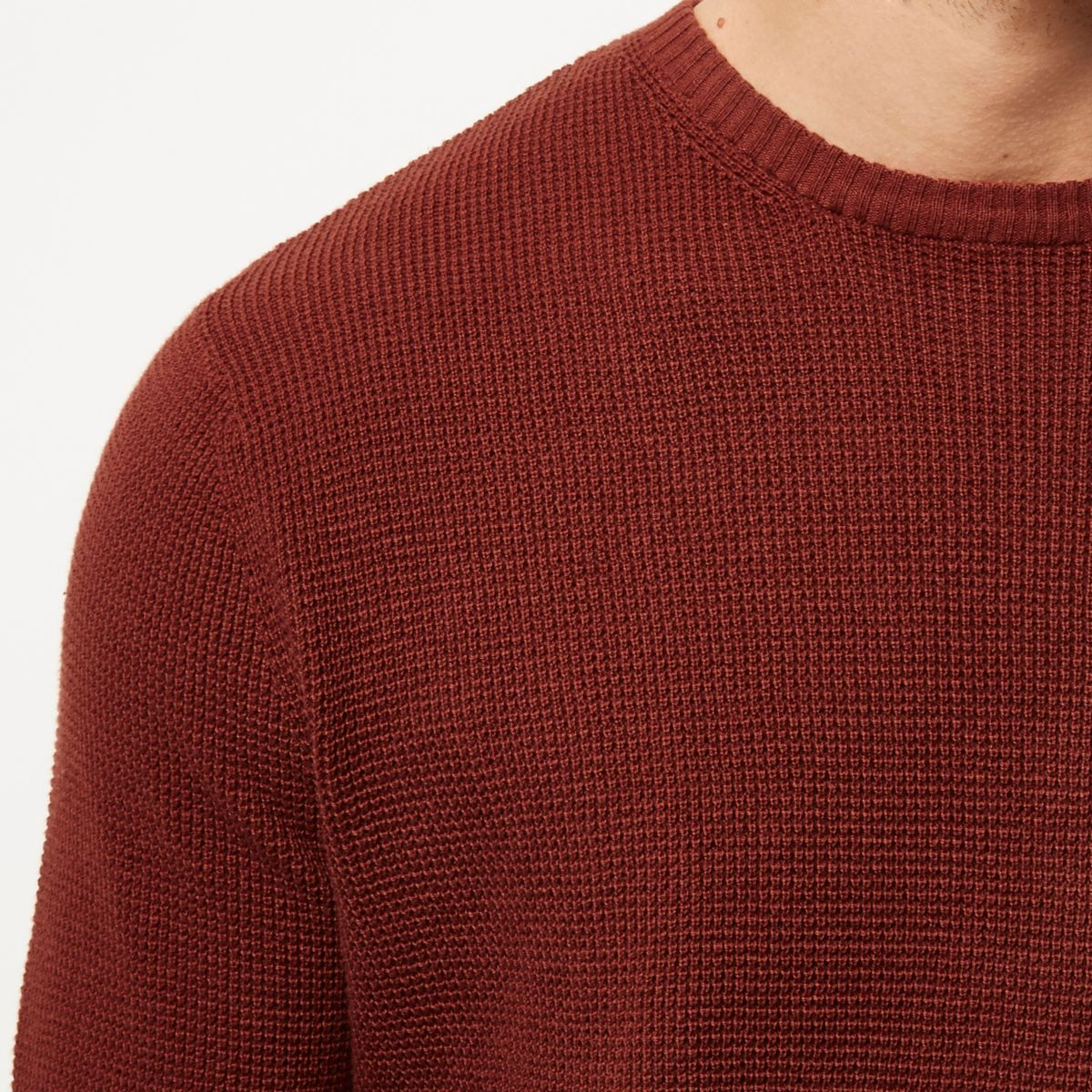 Dark orange textured jumper