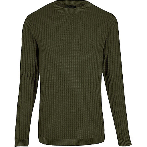 Dark green ribbed slim fit jumper
