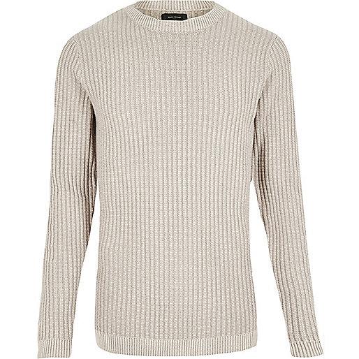 Ecru ribbed slim fit sweater