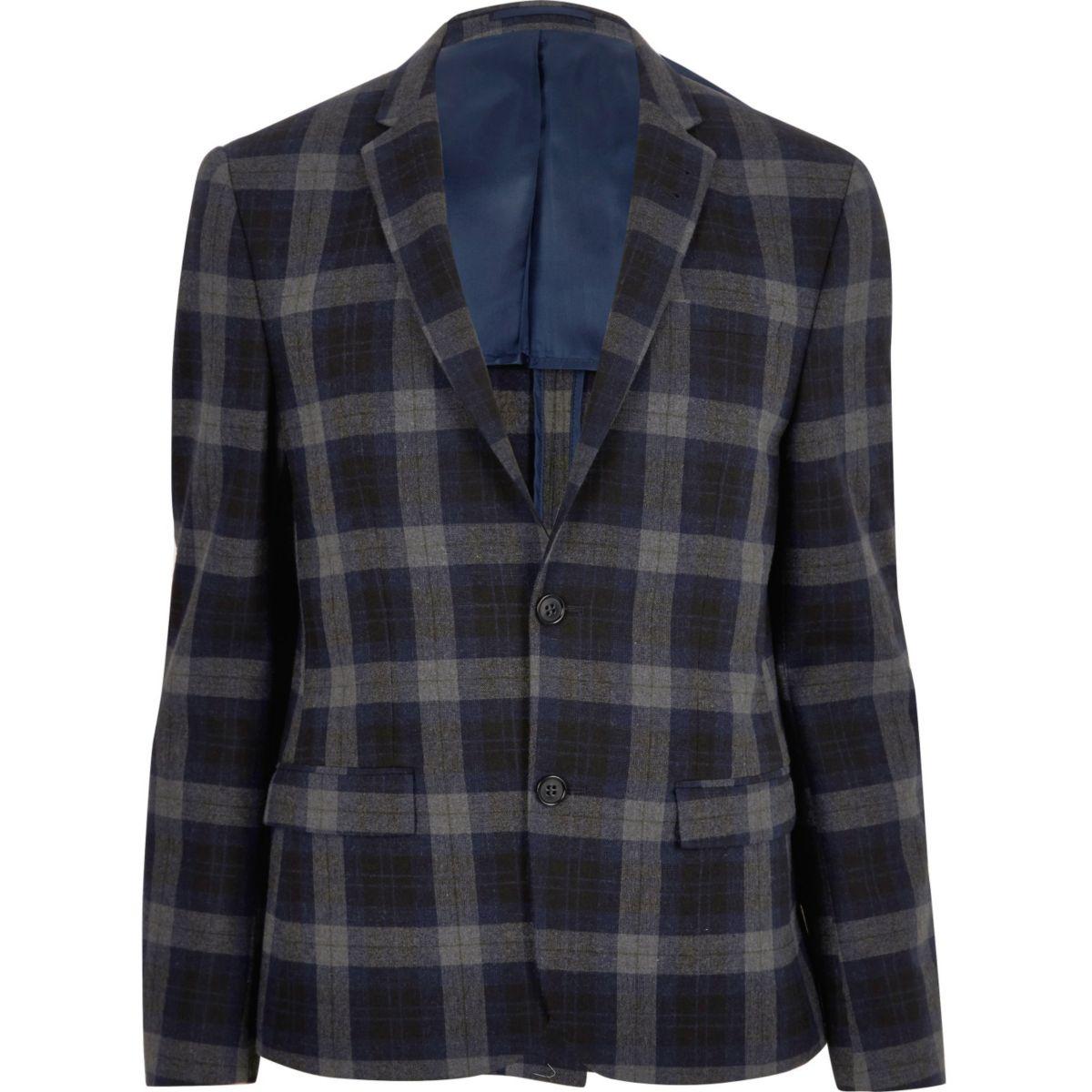 Blauwe geruite skinny cropped blazer