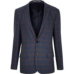 Green checked slim fit blazer