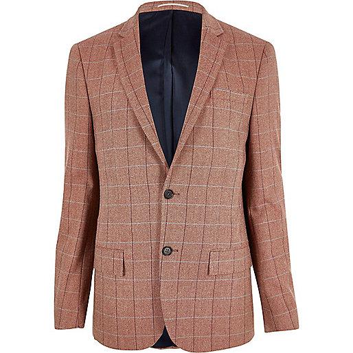 Pink checked slim fit blazer