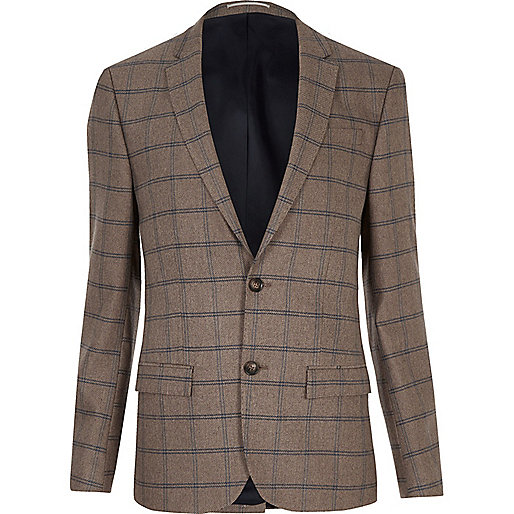 Ecru checked skinny suit jacket