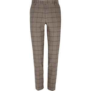 Ecru checked skinny suit pants