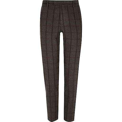 Pantalon de costume à carreaux gris coupe skinny