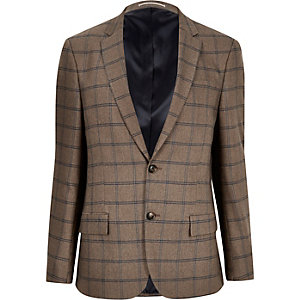 Ecru checked slim fit blazer